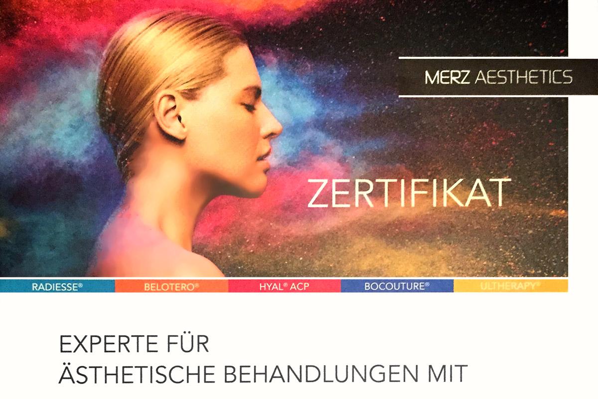 Zertifikat (Merz Aesthetics): Dr. med. Woltersdorf - Experte für ästhetische Behandlungen mit Hyaluronsäure