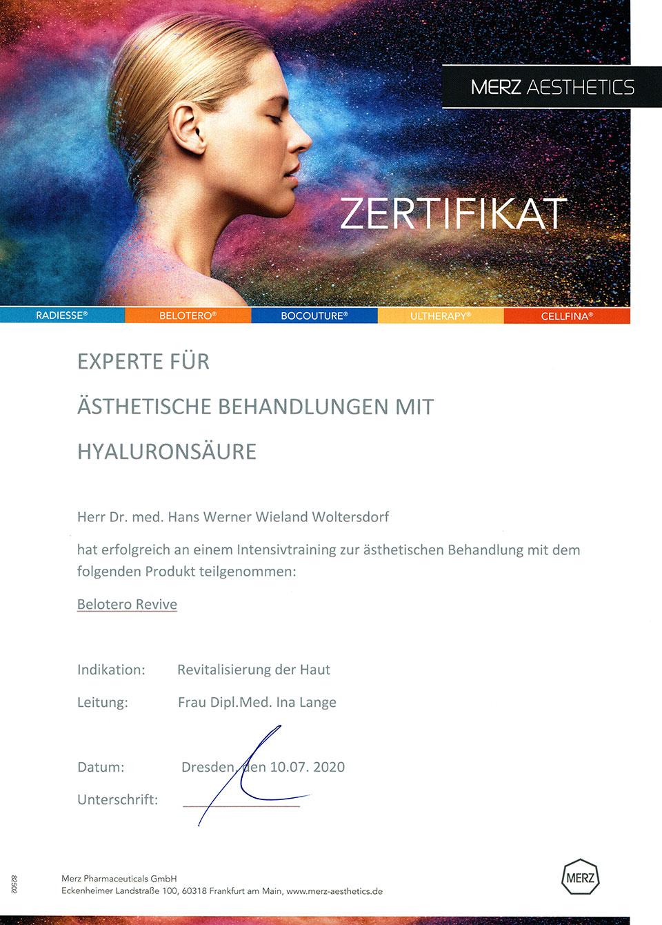 Dr. Woltersdorf: Experte für ästhetische Behandlung mit Hyaluronsäure (Zertifikat Merz Aesthetics 10.07.2020)