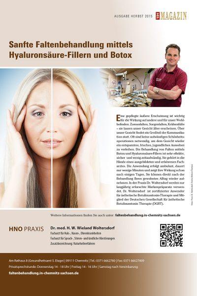 Top Magazin (Herbst 2015): Sanfte Faltenbehandlung, Dr. Woltersdorf, Chemnitz
