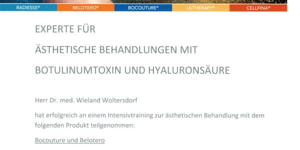 Experte für medizinisch-ästhetische Behandlungen mit Botulinumtoxin und Hyaluronsäure
